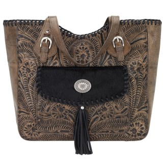 American West Leather Tote- Multi Compartment Carry on Bag Annie's Secret Consealed Carry Charcoal w Hair