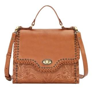 American West Leather Hidalgo Top Handle Classic Satchel Handbag Golden Tan