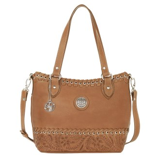 American West Leather Tote- Multi Compartment Carry on Bag Harvest Moon Golden Tan