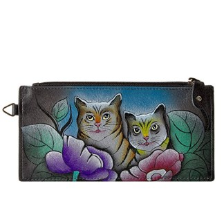 Anna by Anuschka Ladies Wallet  Lng Organizer Two Cats Grey
