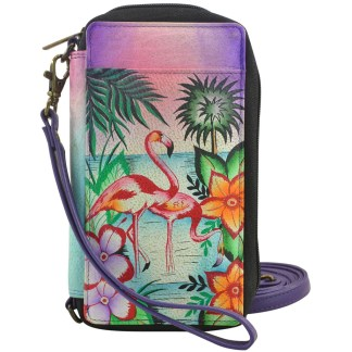 Anna by Anuschka Ladies Wallet  Smart Phone Case RFID Tropical Flamingo