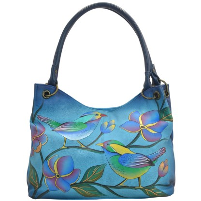 Anna By Anuschka Satchel Handbag Lrg Rnd Handel Longsome Bird Denim
