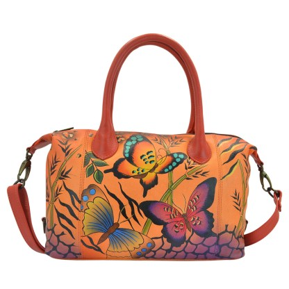 Anna By Anuschka Satchel Handbag Studded Animal Butterfly Tangerine