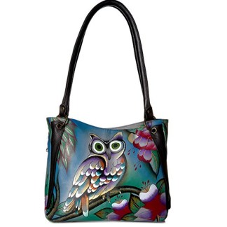 Anna By Anuschka Satchel Handbag Studded Mindnight Owl