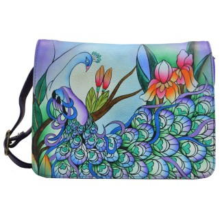Anna By Anuschka Hobo Handbag & Purse Holder E-W-2 Midnight Peacock