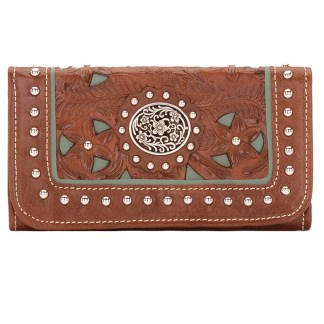 American West Leather Ladies' Tri-Fold French WalletLady lace