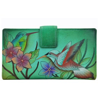 Anna by Anuschka Ladies Wallet 2 Fold Bird In Paradise Green