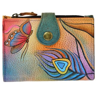 Anna by Anuschka Ladies Wallet  Peacock Butterfly 2 Fold Small