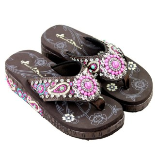 Montana West Flip Flop Sandals Hand Beaded Embroidered Cf Paisley Bling