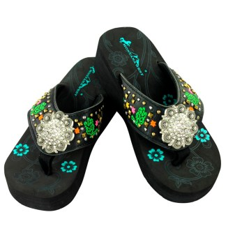 Montana West Flip Flop Sandals Hand Beaded Embroidered Bk Desert Bling