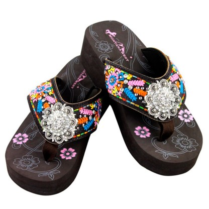 Montana West Flip Flop Sandals Hand Beaded Embroidered Cf Multi Bling