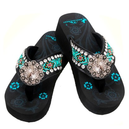 Montana West Flip Flop Sandals Hand Beaded Embroidered Bk Silver OilDrk