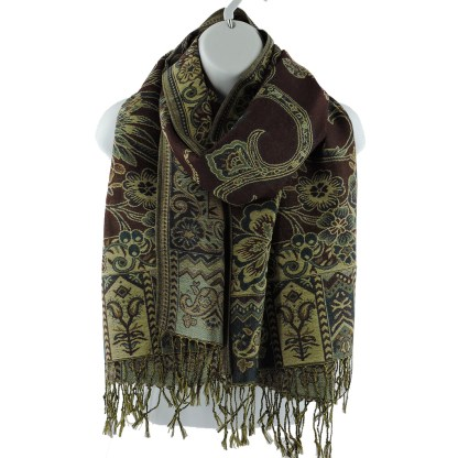 Silver Fever Pashmina - Jacquard Paisley Shawl - Stylish Scarf - Double Sided Wrap Wine Floral