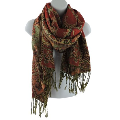 Silver Fever Pashmina - Jacquard Paisley Shawl - Stylish Scarf - Double Sided Wrap Burgundy Floral