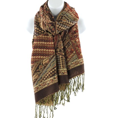 Silver Fever Pashmina - Jacquard Paisley Shawl - Stylish Scarf - Double Sided Wrap Wine Patchwork