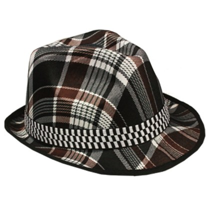 Silver Fever Thin Brimmed Woven Fedora Hat Brown Plaid