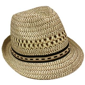 Silver Fever Stripped Panama Fedora Hat for Men or Women Beige w Black