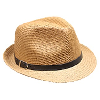 Silver Fever Thin Brimmed Woven Fedora Hat Tan&Sand w Buckle
