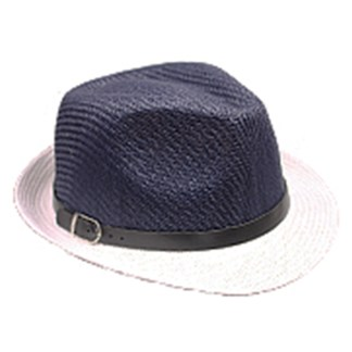 Silver Fever Thin Brimmed Woven Fedora Hat Navy White Buckle