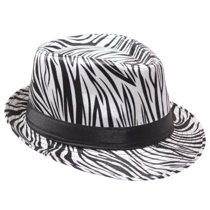 Silver Fever Patterned and Banded Fedora Hat Zebra