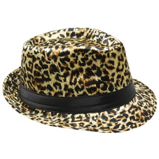 Silver Fever Patterned and Banded Fedora Hat Leopard
