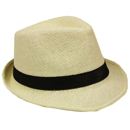 Silver Fever Stripped Panama Fedora Hat for Men or Women Beige black belt