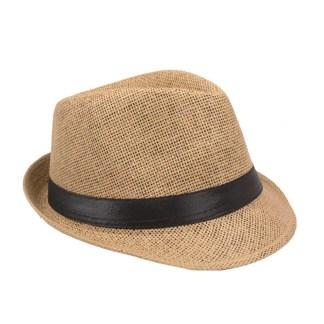 Silver Fever Stripped Panama Fedora Hat for Men or Women Tan black belt