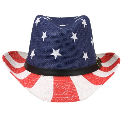 Silver Fever Ombre Woven Straw Cowboy Hat with Cut-outs,Beads, Chin Strap USA Flag, Beaded