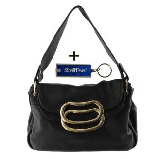 Silver Fever 3 Way Bag Hipster Small Satchel Tote Crossbody Indie Handbag Black w Flip