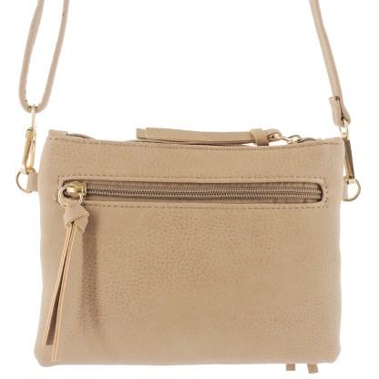 Silver Fever Crossbody Hipster Mini Indie Handbag Apricot Wristlet Hndl