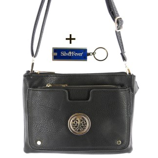 Silver Fever Crossbody Hipster Mini Indie Handbag Black w Pouch
