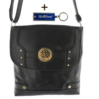 Silver Fever Fashion Crossbody Hipster Tote Indie Designed Handbag Black w Cry