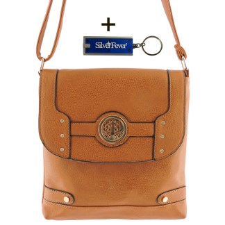 Silver Fever Fashion Crossbody Hipster Tote Indie Designed Handbag Camel w CRY