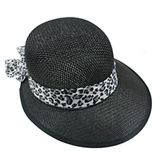 Silver Fever Women Summer Fancy Sun Hat Fits All Black with cheetah