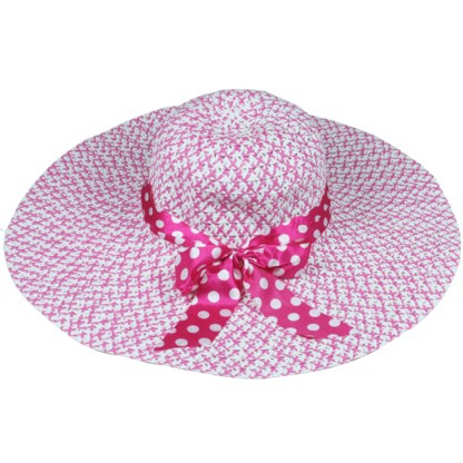 Silver Fever Women Summer Fancy Sun Hat Fits All H Pink with polka dote