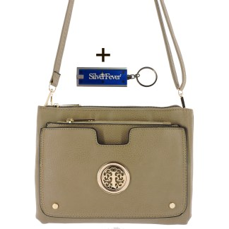 Silver Fever Crossbody Hipster Mini Indie Handbag Appricot w Pouch