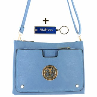 Silver Fever Crossbody Hipster Mini Indie Handbag Blue w Pouch