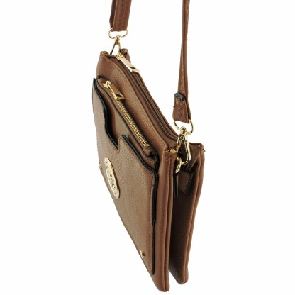 Silver Fever Crossbody Hipster Mini Indie Handbag Camel w Pouch
