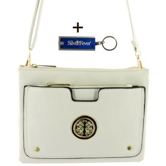 Silver Fever Crossbody Hipster Mini Indie Handbag White w Pouch