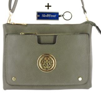 Silver Fever Crossbody Hipster Mini Indie Handbag Grey w Pouch