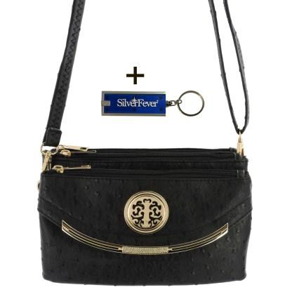 Silver Fever Crossbody Hipster Mini Indie Handbag Black Ostrige