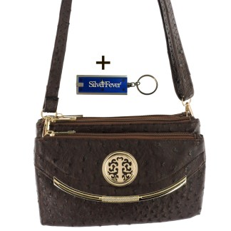 Silver Fever Crossbody Hipster Mini Indie Handbag Coffee Ostrige