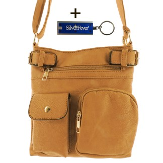 Silver Fever Fashion Crossbody Hipster Tote Indie Designed Handbag Camel  3 Pck