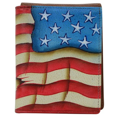 Anuschka Leather RFID Men's Two Fold Stars and Stripes