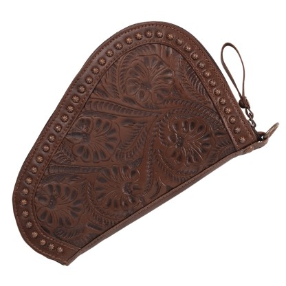 American West Tolled Leather Padded Gun Case - Chestnut Brown