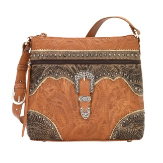 American West Leather Shoulder Handbag - Saddle Ridge -Golden Tan