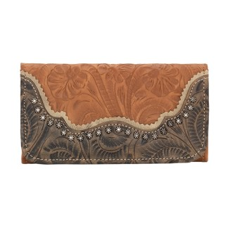 American West Leather Ladies' Tri-Fold French Wallet -Saddle Ridge -Golden Tan