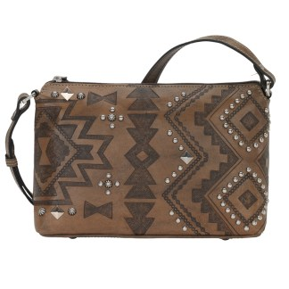 American West Leather Cross Body Handbag-Nomad Heart -Charcoal Brown