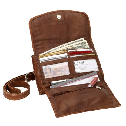 American West Leather Texas Two Step Cross Body Wallet Handbag -Sand
