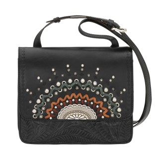 American West Leather Cross Body Handbag-Bella Luna -Black